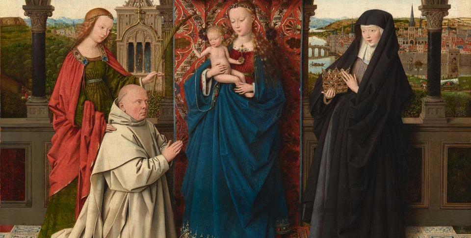 tableau vierge enfant sainte barbe sainte elisabeth