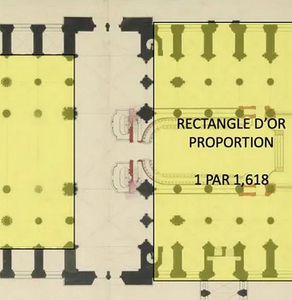 Cathédrale Notre-Dame de Paris par Quentin Leplat et rectangle d'or