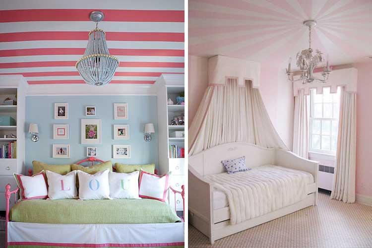 Pembe ve beyaz çizgili tavanlar