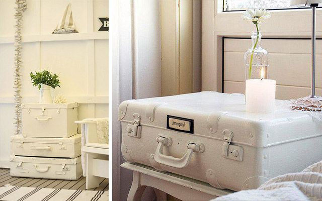 Eski valizlerle dekorasyon