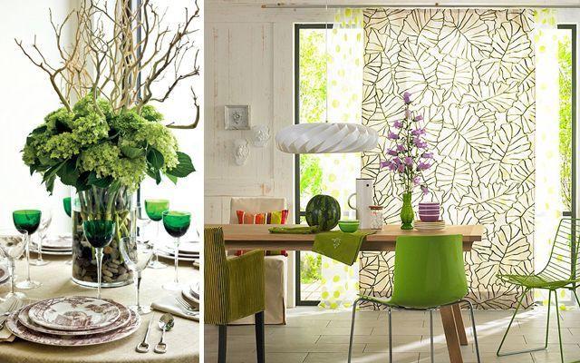 yeşil yemek odası dekorasyonu
