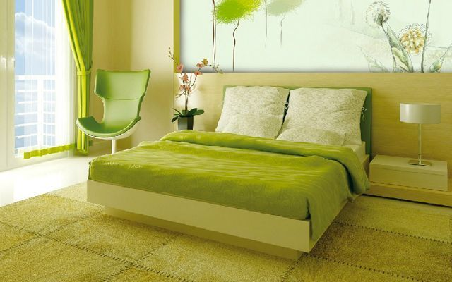 yeşil yatak odası dekorasyonu