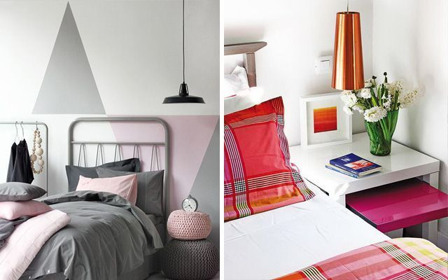 Başucu masalarının üzerinde asılı lambalarla yatak odası dekorasyonu