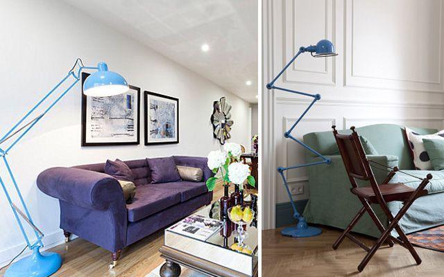 Zemin lambalı oturma odası dekorasyonu