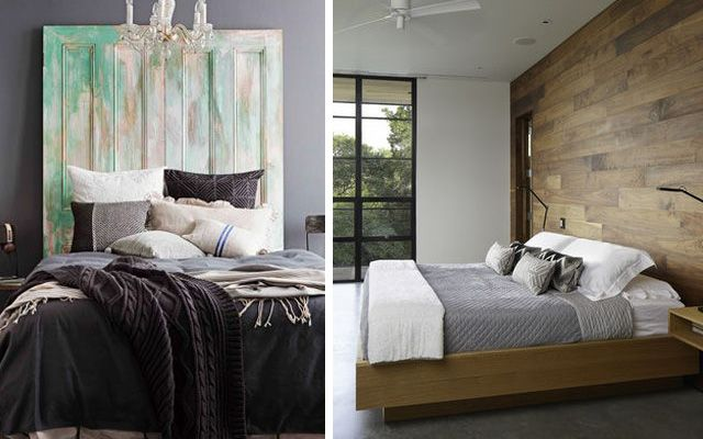 ahşap başlıklı yatak odası dekoru