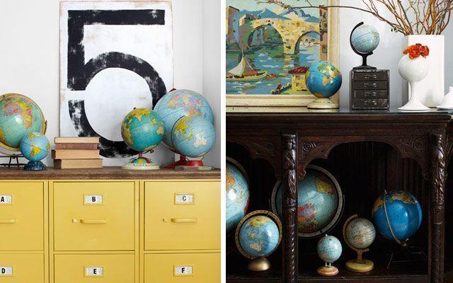 İç dekorasyonda karasal küre İç dekorasyonda yerküre