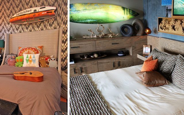Sörf tahtaları ile evleri dekore etmek için fikirler