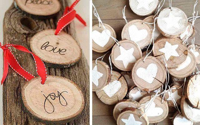 Doğal bir ağaç için rustik Noel süsleri
