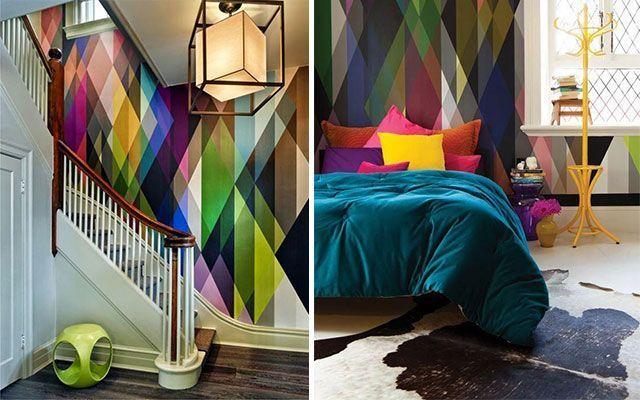 Duvarlarda üçgenlerle dekorasyon