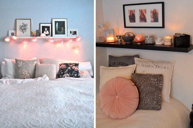 Yatağın üstündeki raflarla süsleyin