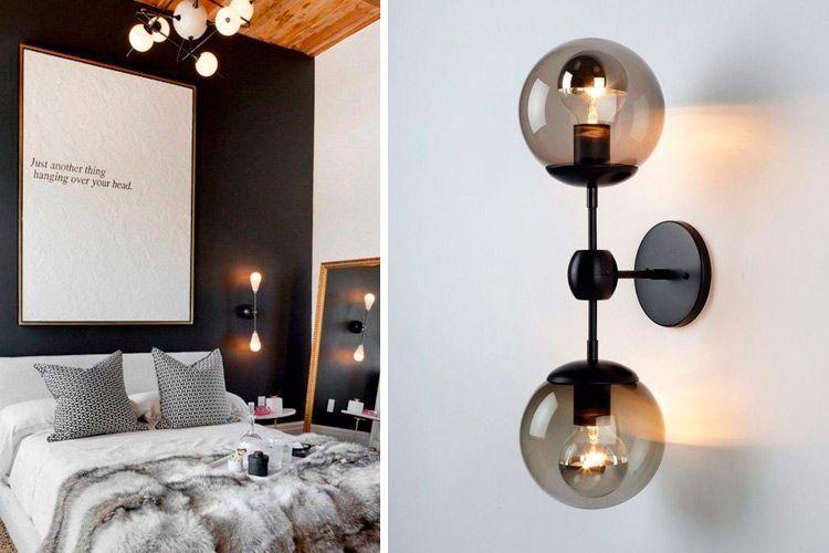 Süslemek için endüstriyel ve çağdaş tarzda duvar lambaları