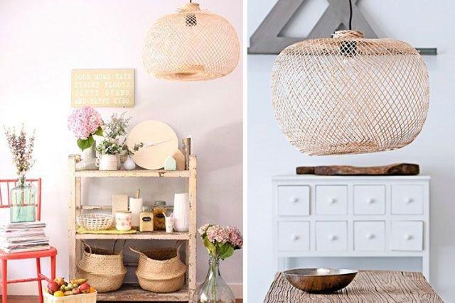 Hasır ve bambu lambalarla süsleyin