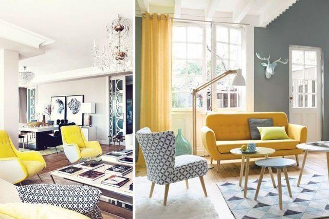 İki renkli oturma odası dekorasyonu