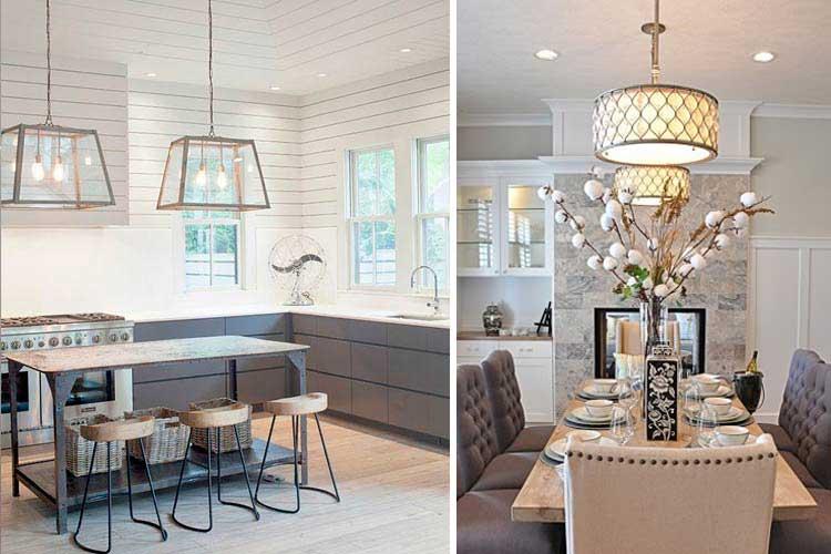 İki lambalı yemek odası dekorasyonu