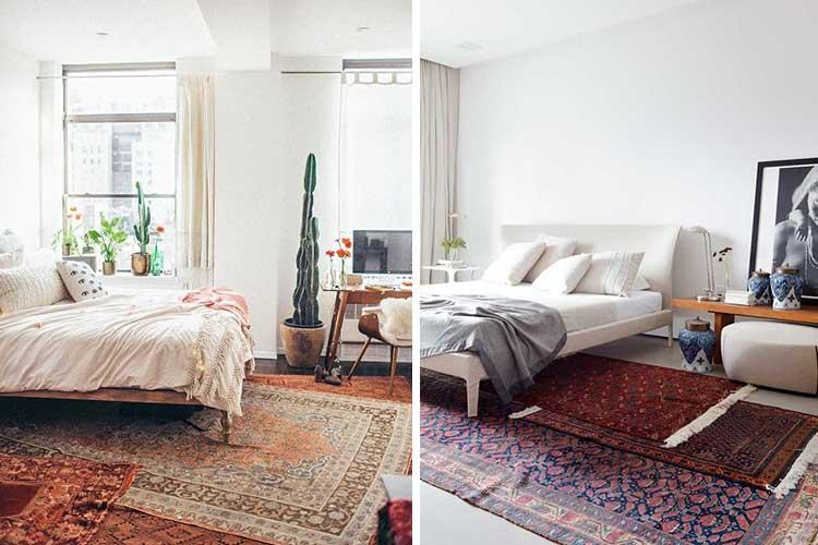 Yatak odasını karşılayan katmanlı kilimler