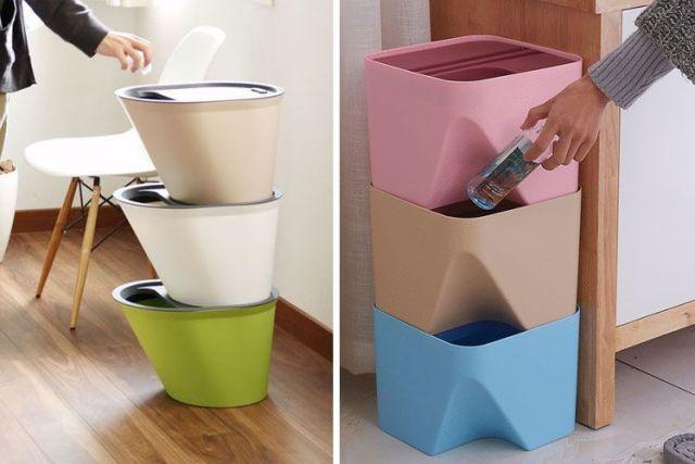 İstiflenebilir çöp kutuları
