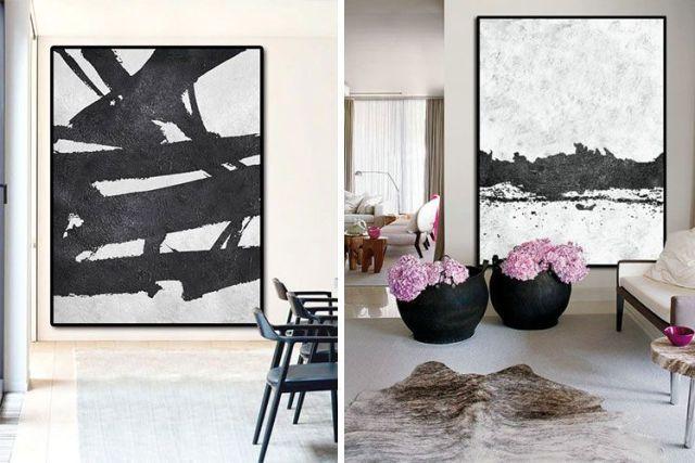 Siyah beyaz soyut resimler