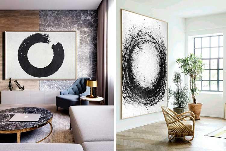 Geometrik desenli soyut resimler