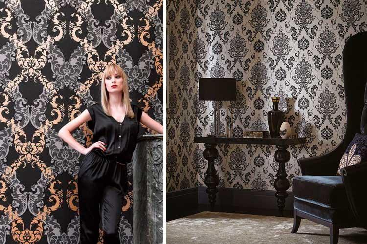 Dekorasyonda siyah duvar kağıdı