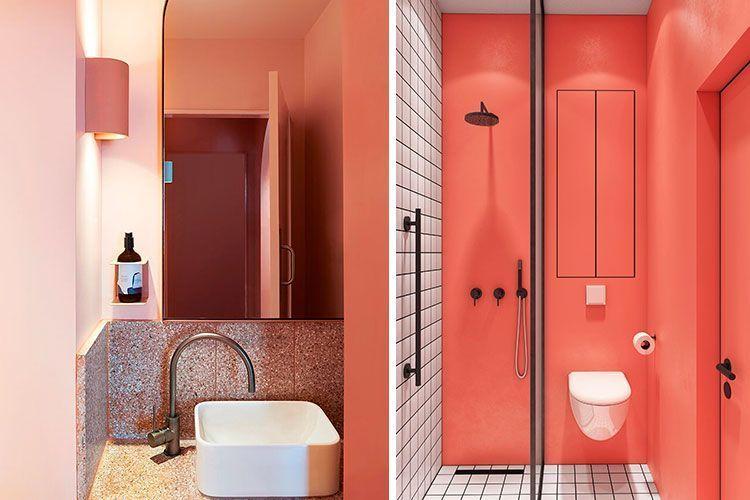 Mercan rengi yaşayan banyolar