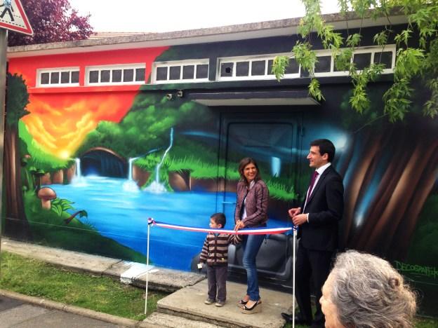 Inauguration de la fresque par madame le maire