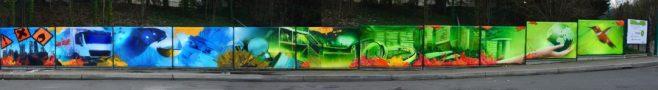 fresque murale graff sur bache