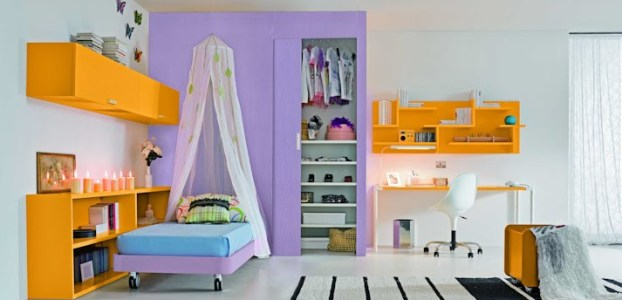 purple and orange interior design ideas for teenage girls room