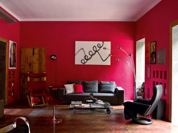 Decorating with Red and Black Living Room Abstract Art