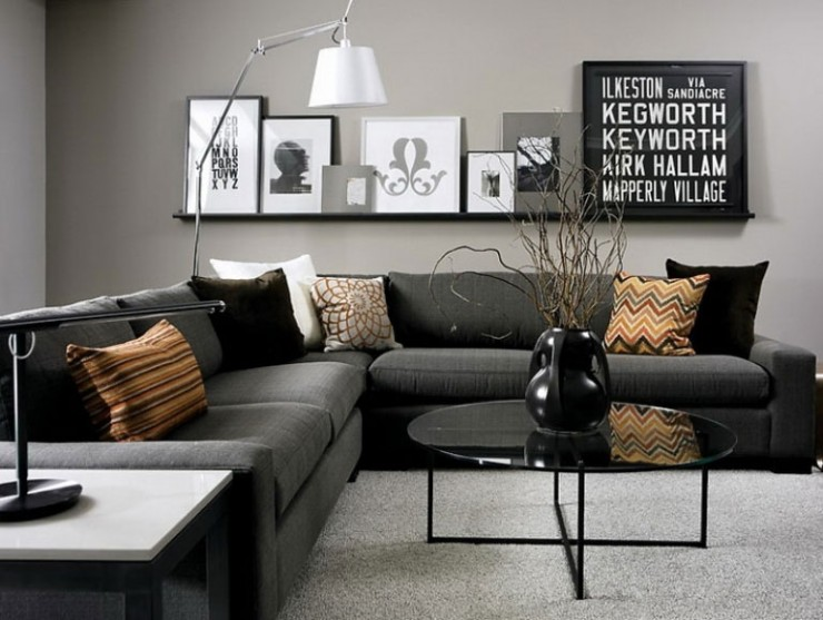 dark gray sofa and decorative pillows