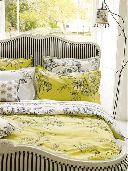 black white yellow lime bedroom color scheme