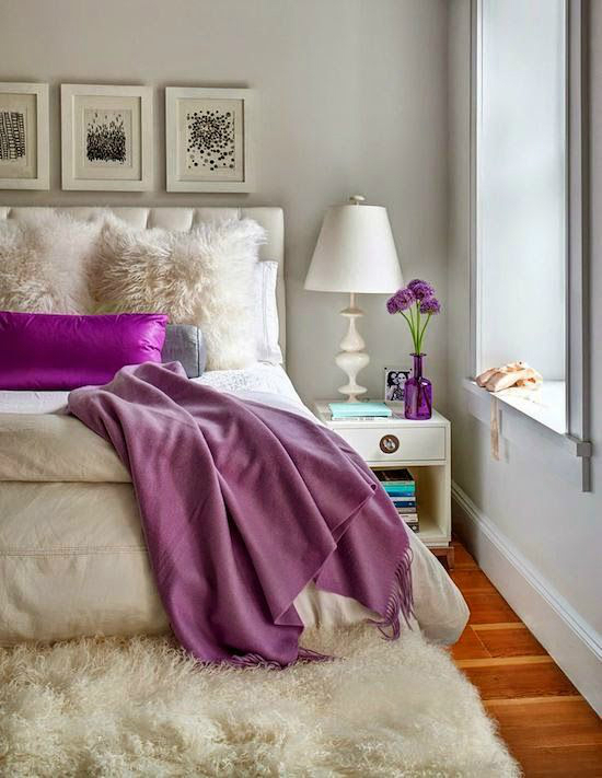 Gray Cream Purple Bedroom Color Scheme