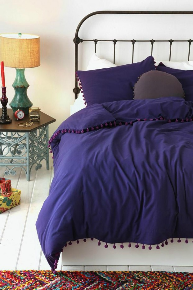 indigo with white bedroom color scheme