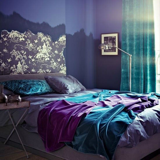 turquoise purple bedroom color scheme