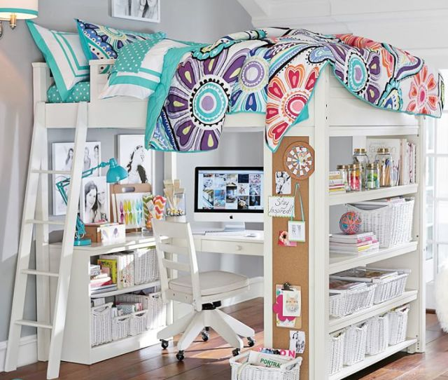 White Loft Bed With Desk 2