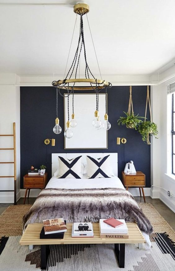bedroom dark blue wall structure paint idea