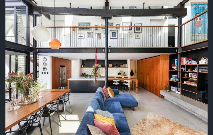 Garaje convertido en loft de estilo industrial
