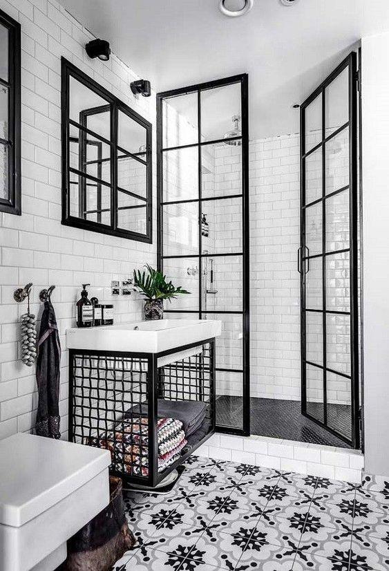 Baño con baldosas hidráulicas