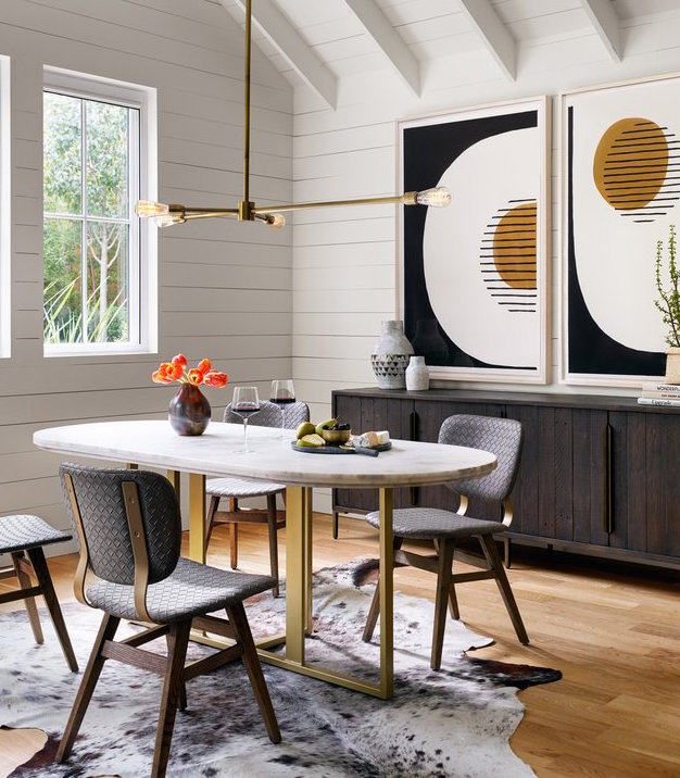 Devan Oval Dining Table in White Marble and brass iron