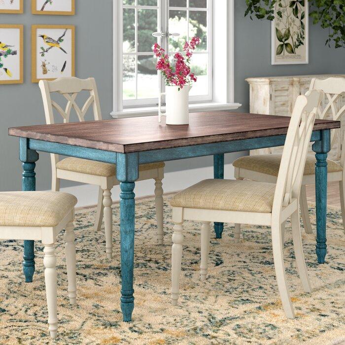 Teal Blue Veneer Dining Table