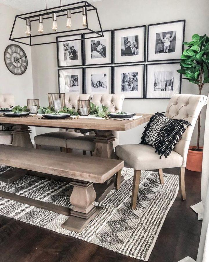 wood Rectangular farmhouse style dining room