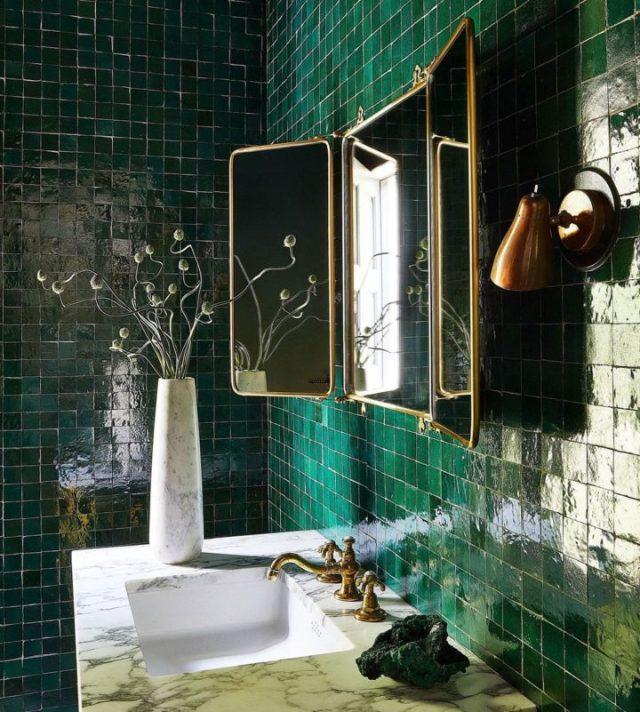 el yapımı yeşil Fas yeşil banyo karoları fikri