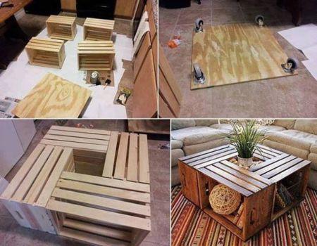 4 cajones de verduras pueden transformarse en una original mesa de centro