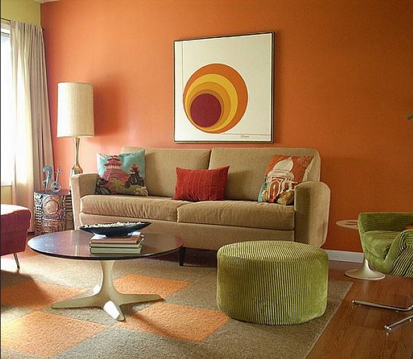 Small Living Room Ideas With Orange Wall Paint And Brown Sofa Decolover Net
