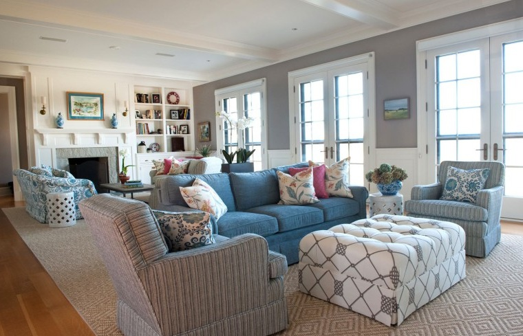 Blue And Grey Living Room With Wooden Floor And Furniture