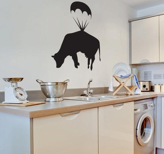 Farm Animal Kitchen Decor With Cow Patterned Curtain