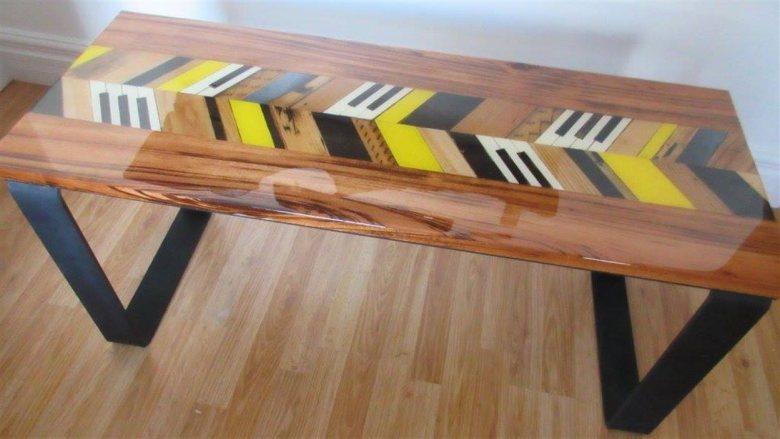 table piano recyclé