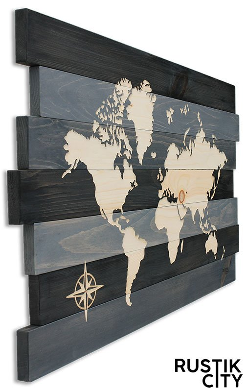 Carte du monde bois recyclé / world map in recycled wood