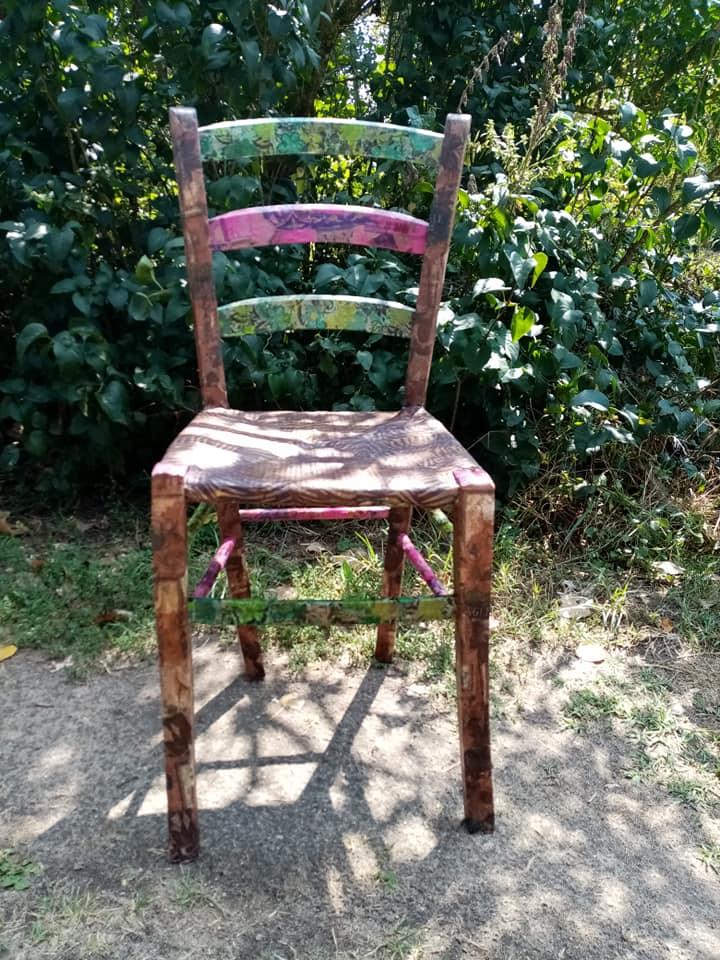 chaise décopatch vert rose