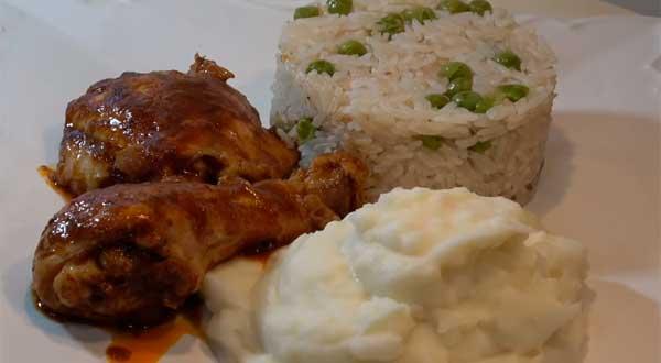 Pollo a la olla con pure