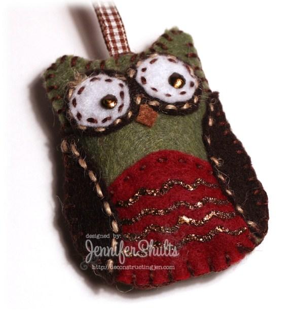 Owly Christmas - handmade felt ornament